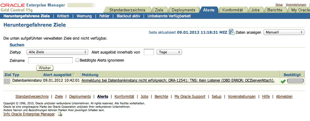 ORA-12541: TNS: Kein Listener // Grid Control 11g Alert
